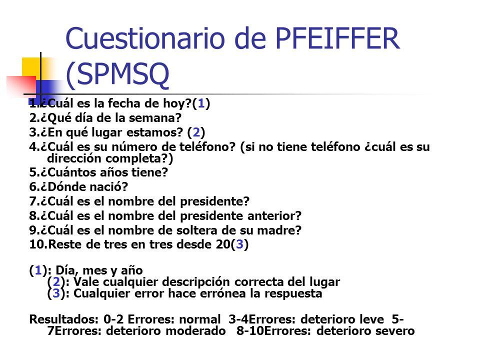 Cuestionario de PFEIFFER (SPMSQ