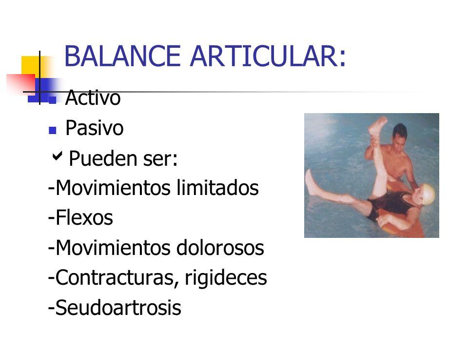 BALANCE ARTICULAR: Activo Pasivo Pueden ser: -Movimientos limitados