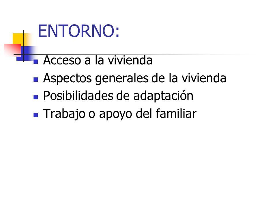 ENTORNO: Acceso a la vivienda Aspectos generales de la vivienda