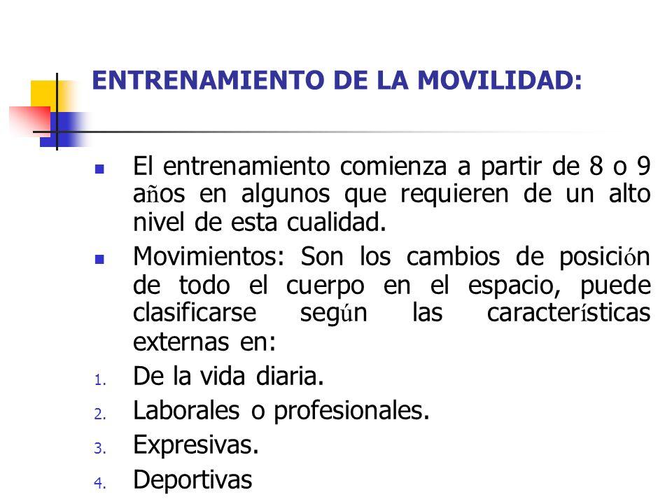 ENTRENAMIENTO DE LA MOVILIDAD: