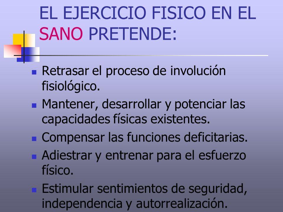 EL EJERCICIO FISICO EN EL SANO PRETENDE: