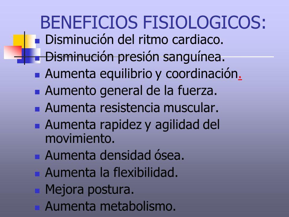 BENEFICIOS FISIOLOGICOS: