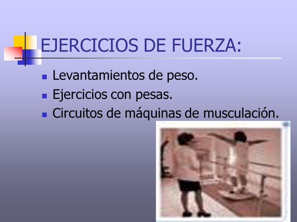 EJERCICIOS DE FUERZA: Levantamientos de peso. Ejercicios con pesas.