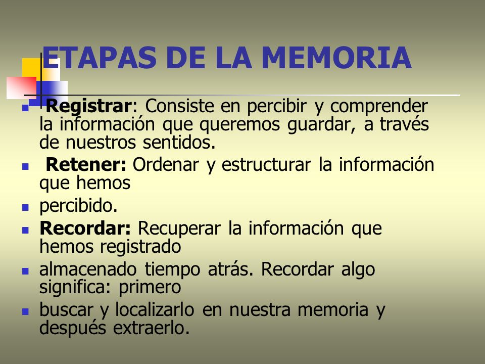 ETAPAS DE LA MEMORIA Registrar: Consiste en percibir y comprender la información que queremos guardar, a través de nuestros sentidos.