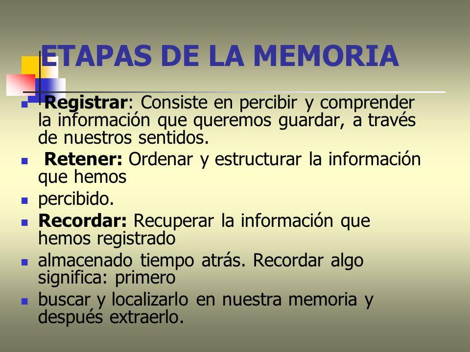ETAPAS DE LA MEMORIARegistrar: Consiste en percibir y comprender la información que queremos guardar, a través de nuestros sentidos.