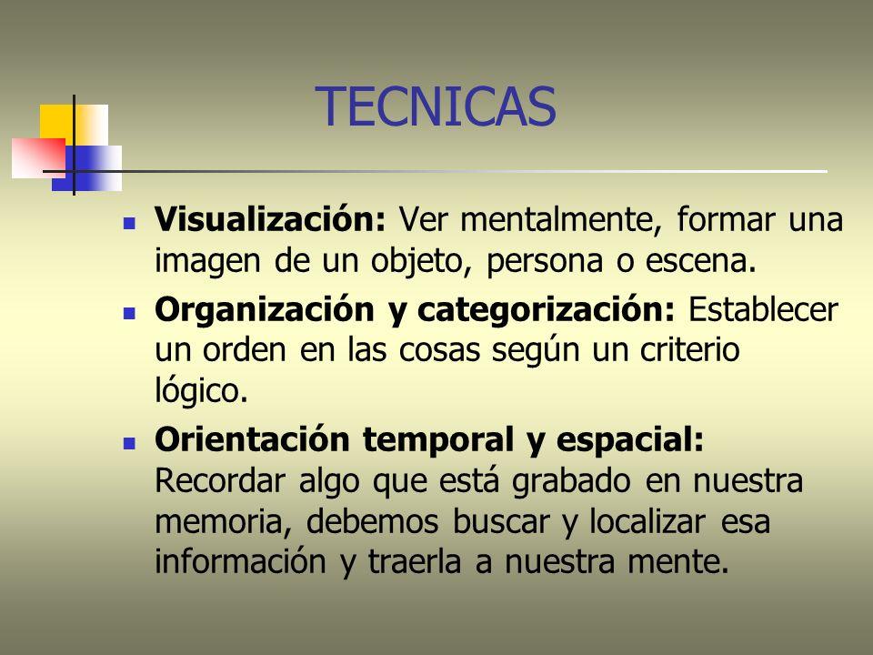 TECNICAS Visualización: Ver mentalmente, formar una imagen de un objeto, persona o escena.