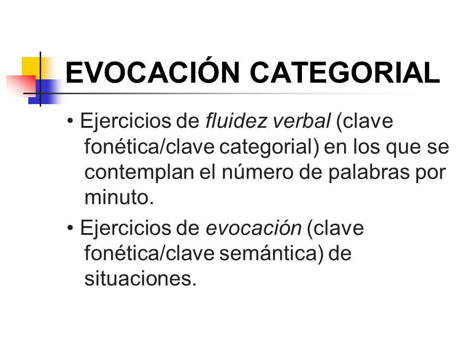EVOCACIÓN CATEGORIAL• Ejercicios de fluidez verbal (clave fonética/clave categorial) en los que se contemplan el número de palabras por minuto.
