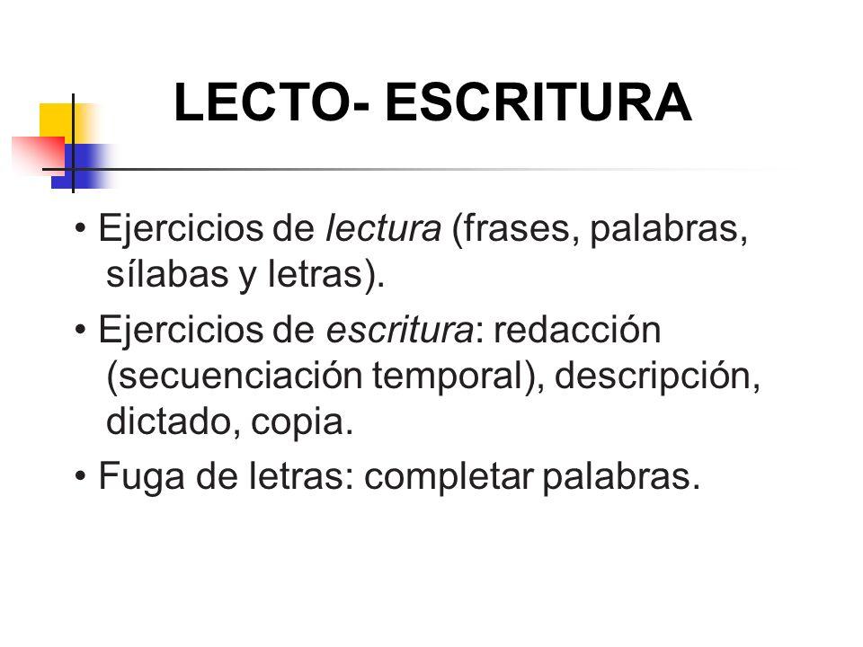 LECTO- ESCRITURA • Ejercicios de lectura (frases, palabras, sílabas y letras).