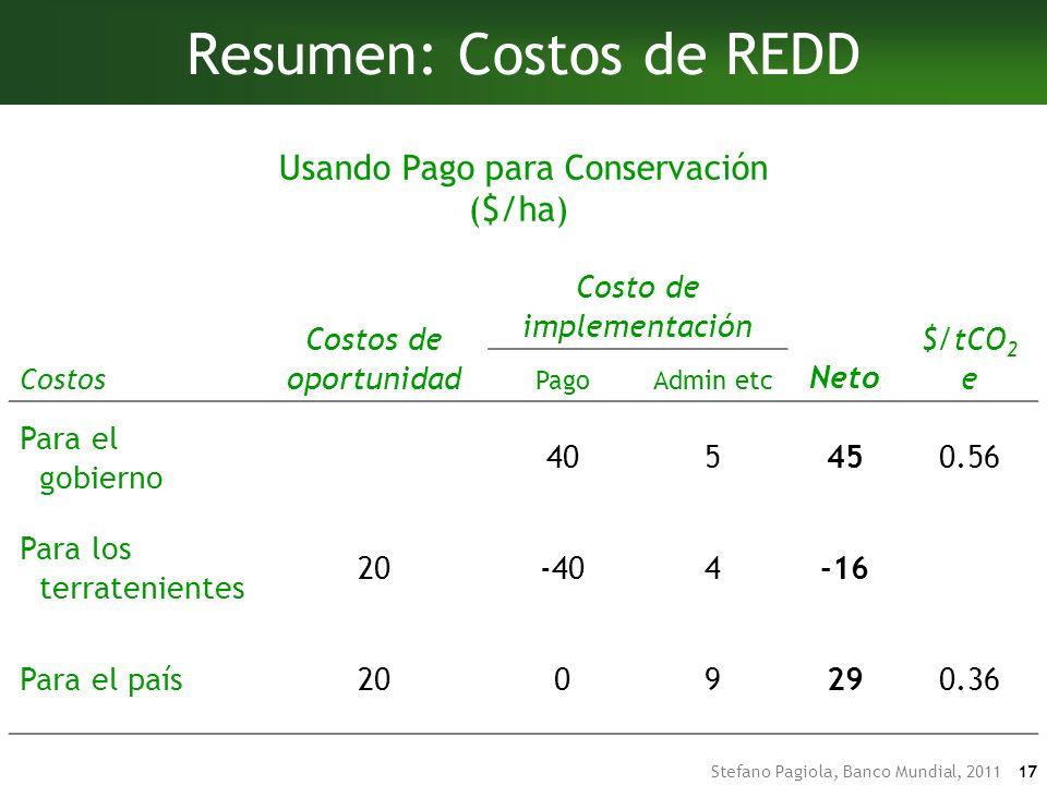 Resumen: Costos de REDD