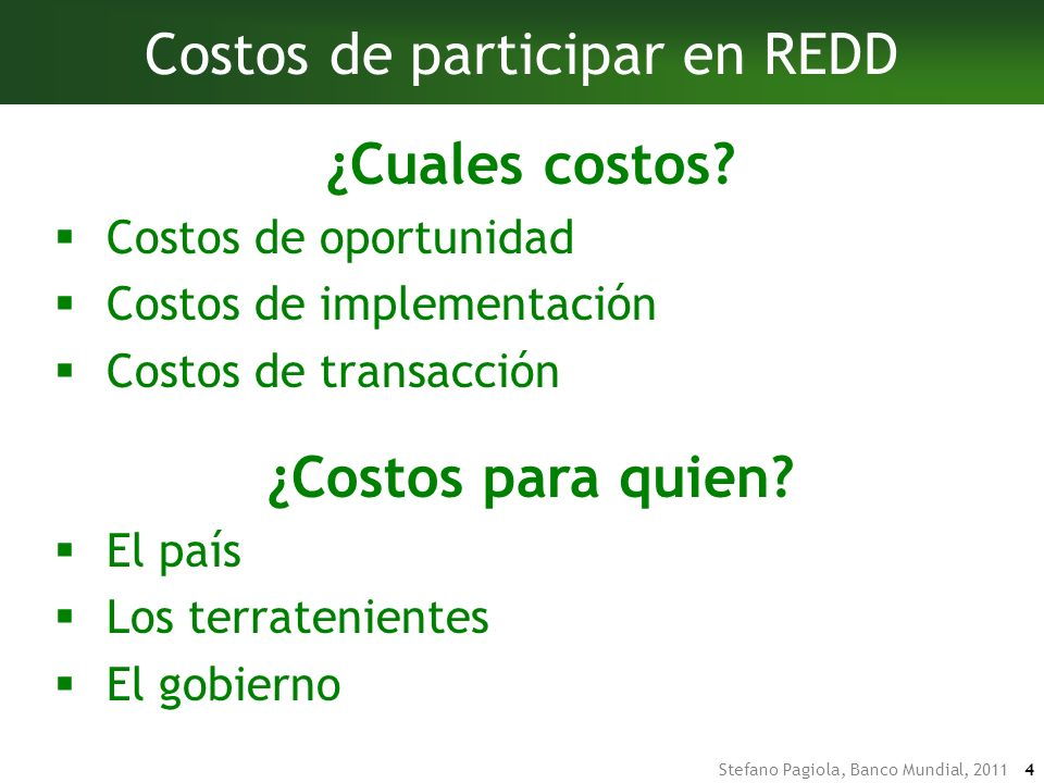 Costos de participar en REDD