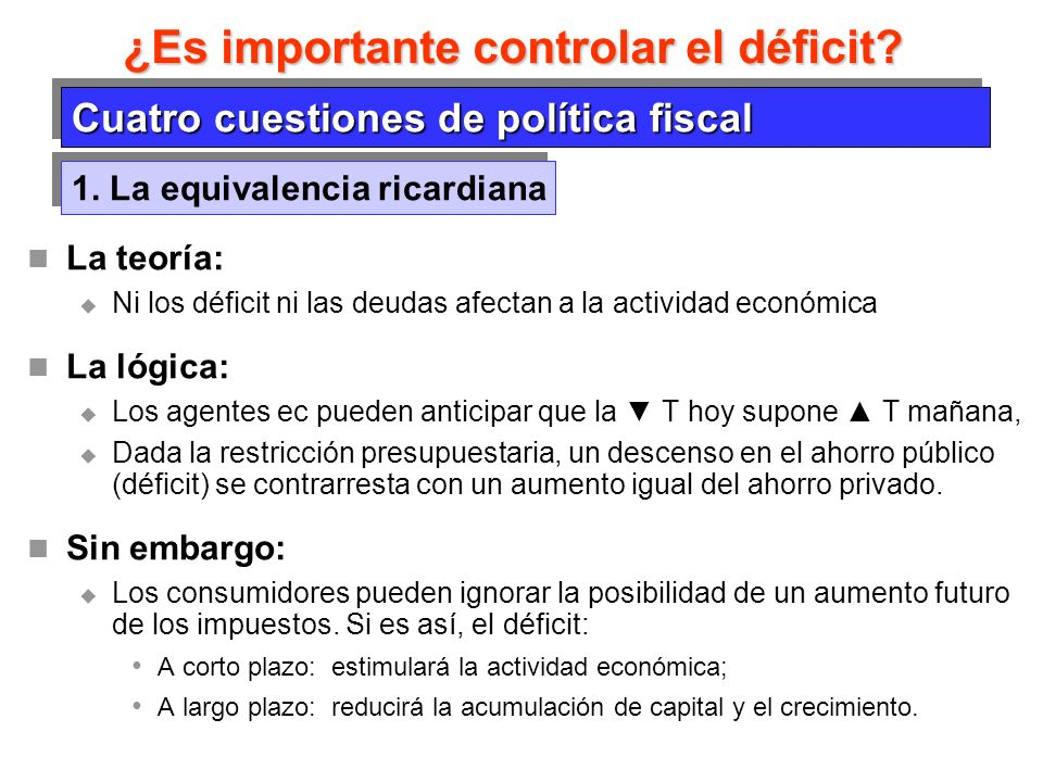 ¿Es importante controlar el déficit