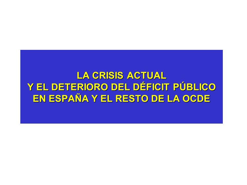 LA CRISIS ACTUAL Y EL DETERIORO DEL DÉFICIT PÚBLICO EN ESPAÑA Y EL RESTO DE LA OCDE