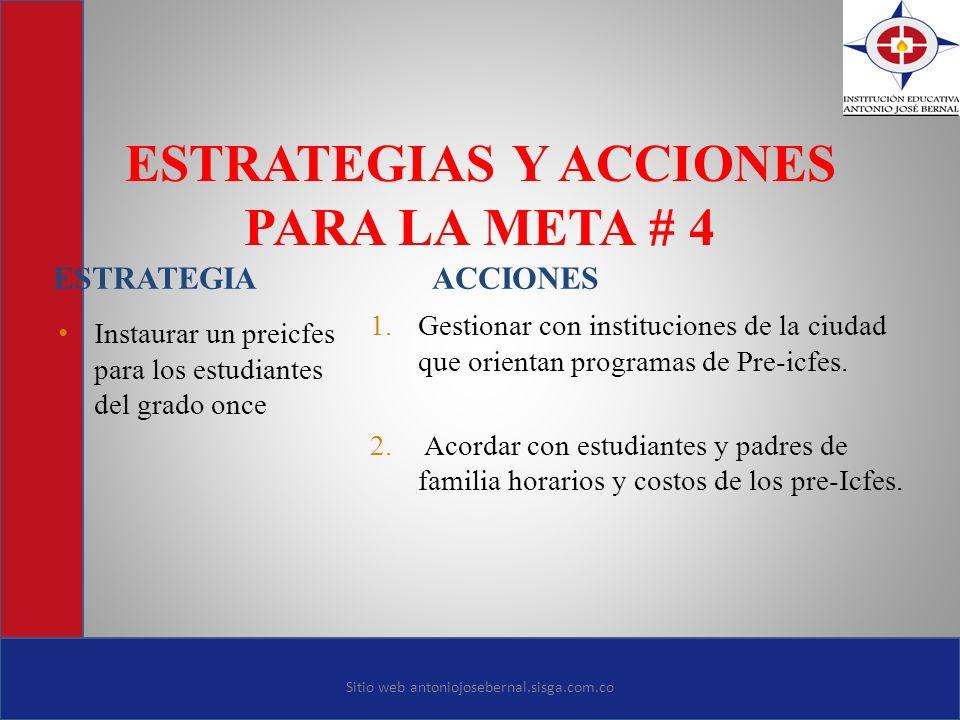 ESTRATEGIAS Y ACCIONES PARA LA META # 4