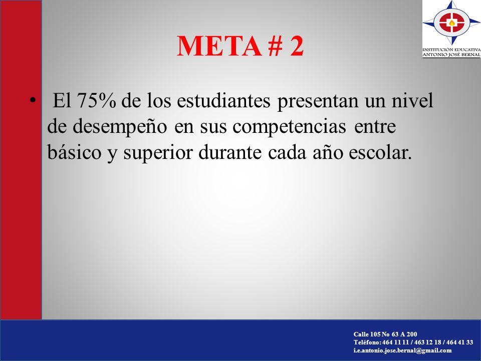 META # 2 El 75% de los estudiantes presentan un nivel de desempeño en sus competencias entre básico y superior durante cada año escolar.