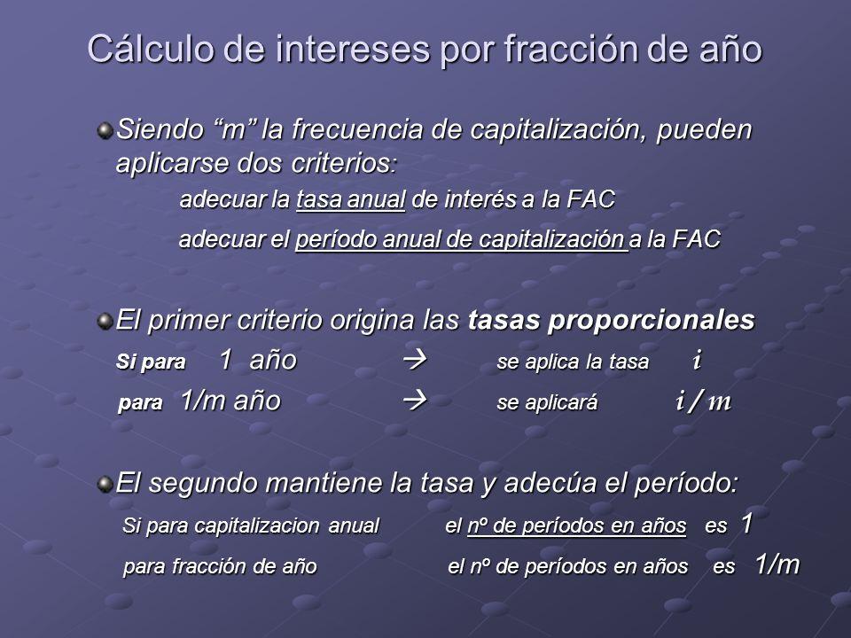 Cálculo de intereses por fracción de año