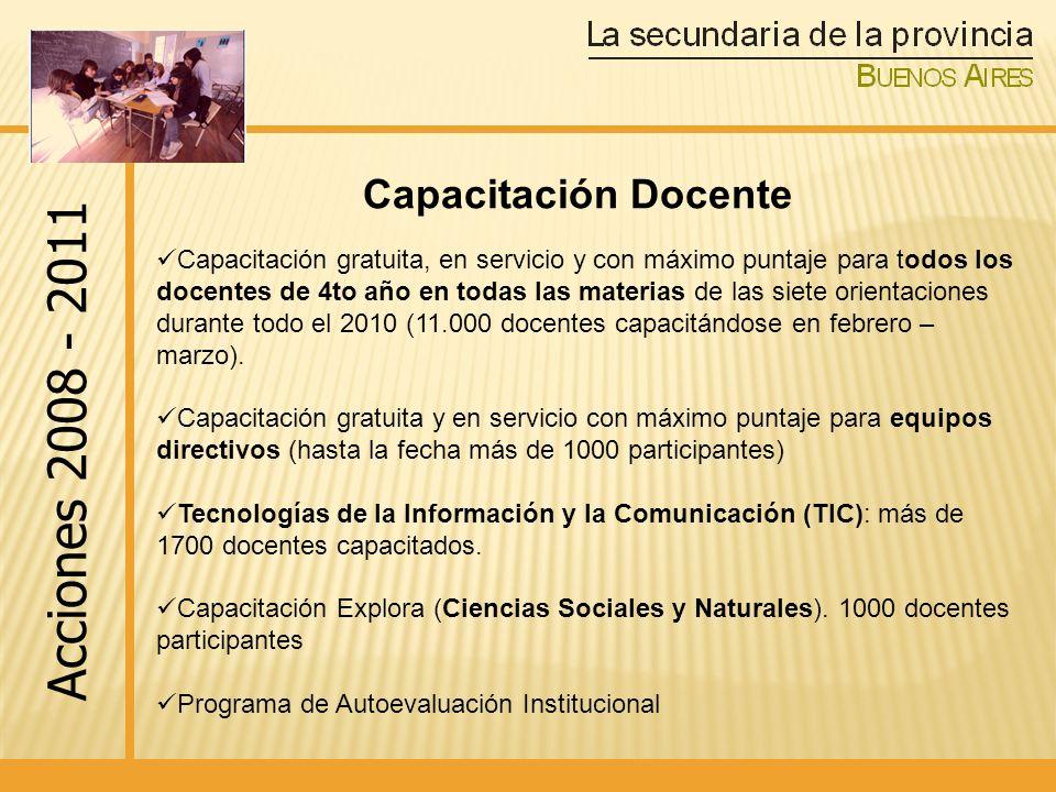 Acciones 2008 - 2011 Capacitación Docente
