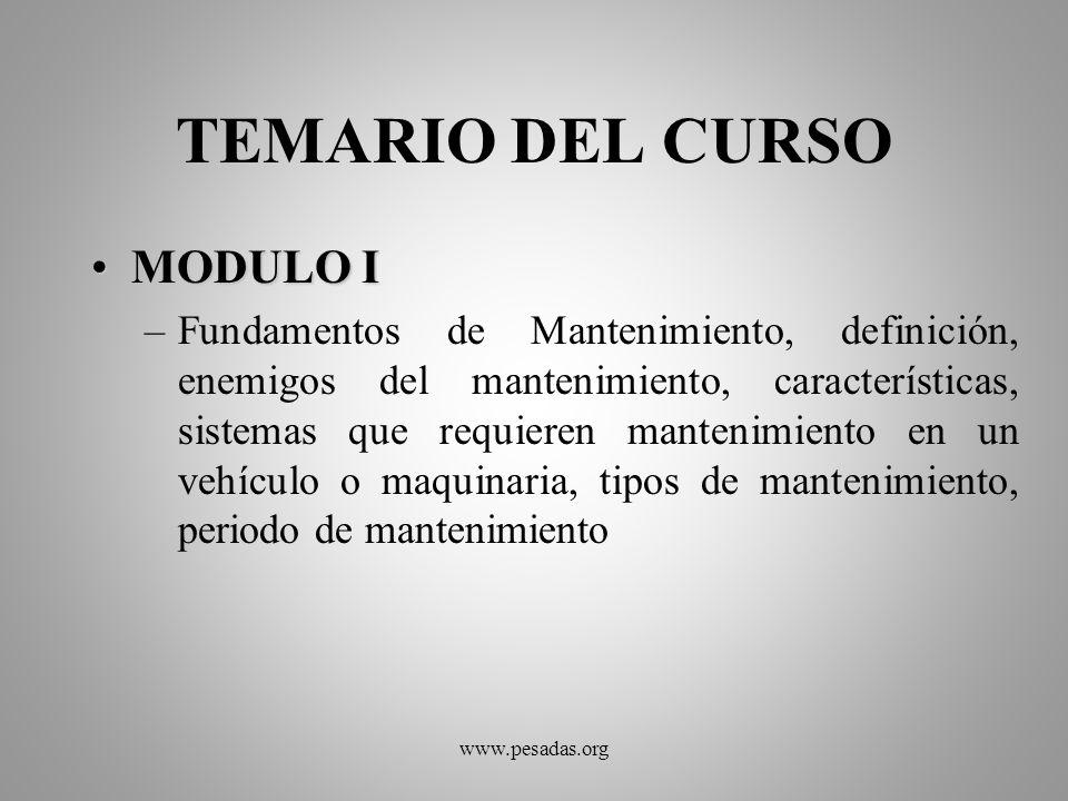 TEMARIO DEL CURSO MODULO I