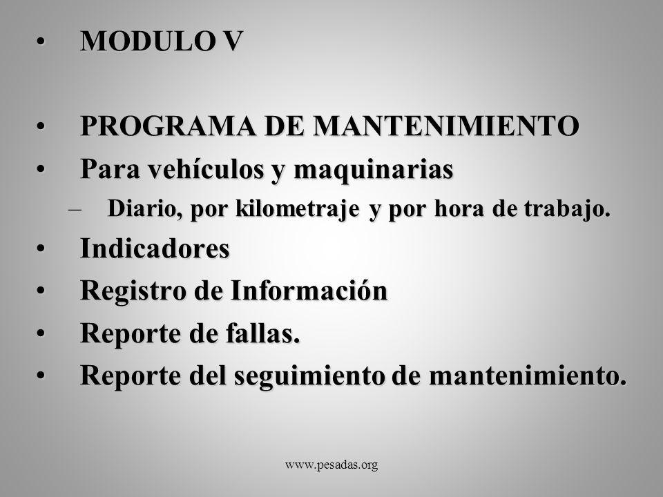 PROGRAMA DE MANTENIMIENTO Para vehículos y maquinarias Indicadores