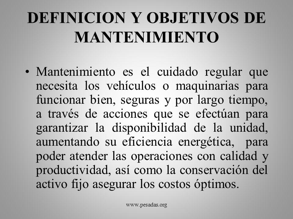 DEFINICION Y OBJETIVOS DE MANTENIMIENTO