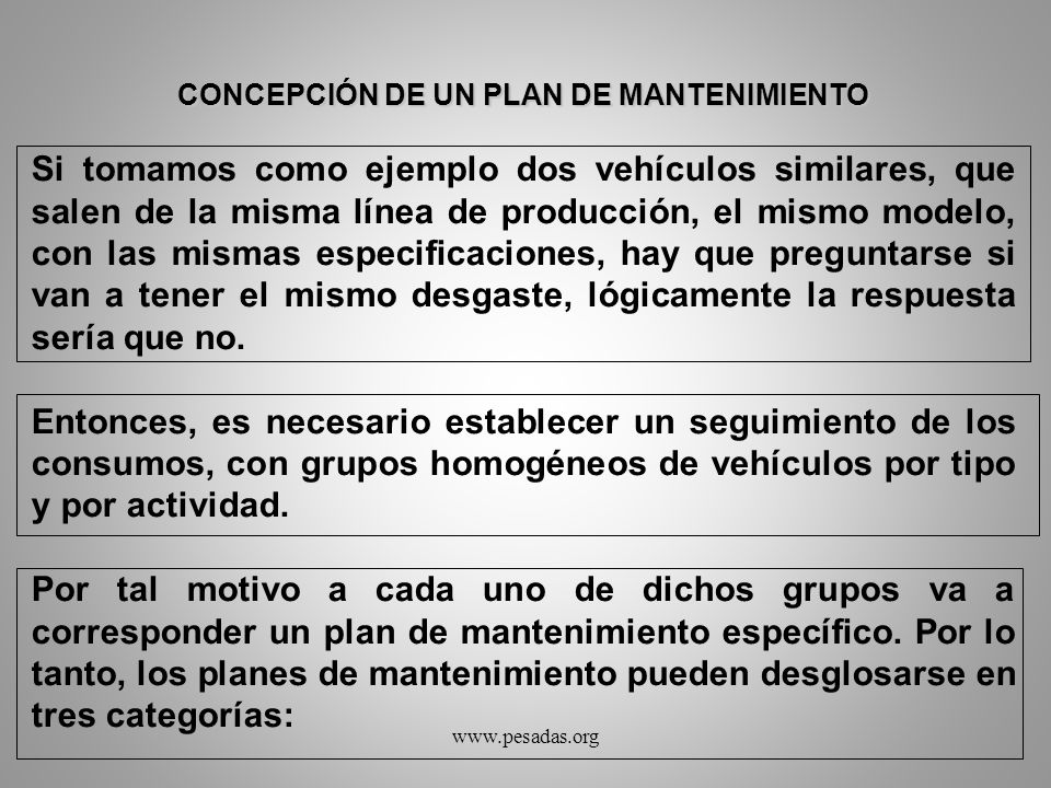 CONCEPCIÓN DE UN PLAN DE MANTENIMIENTO