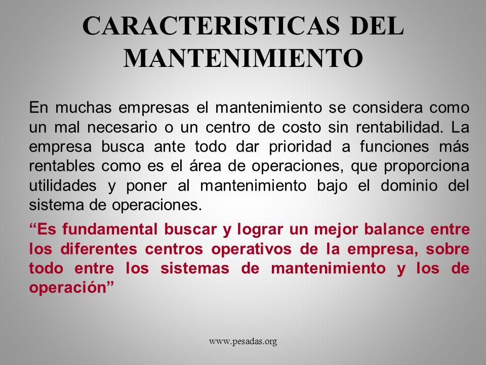 CARACTERISTICAS DEL MANTENIMIENTO