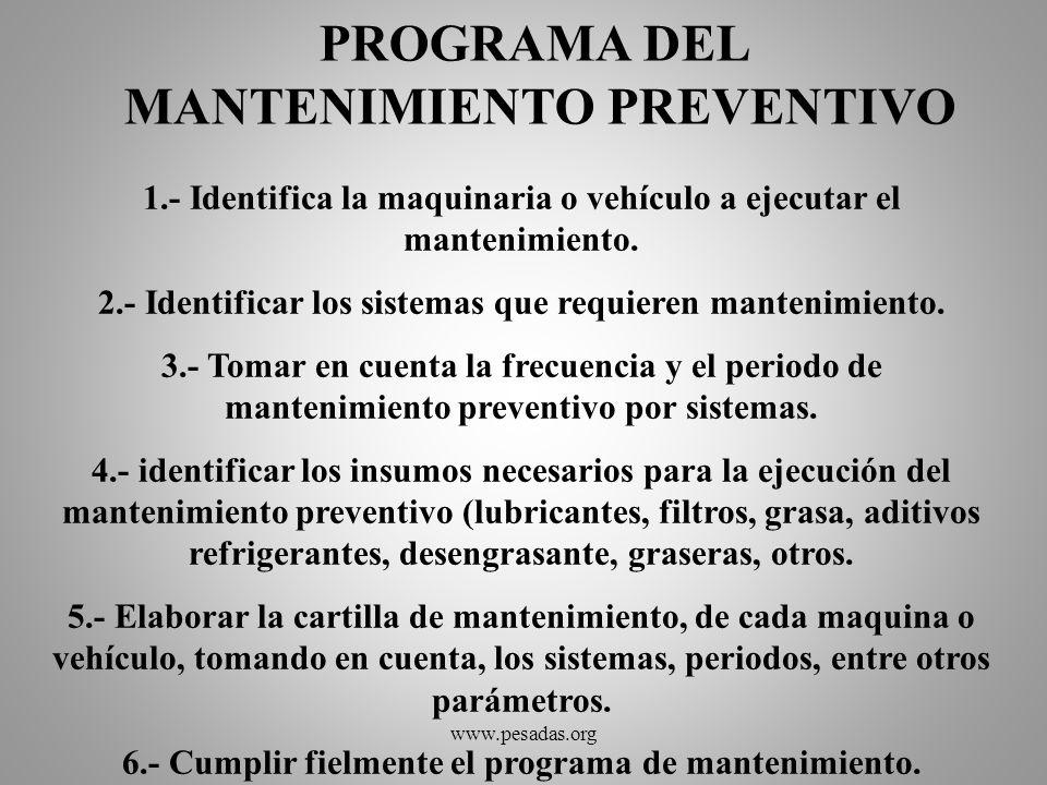 PROGRAMA DEL MANTENIMIENTO PREVENTIVO