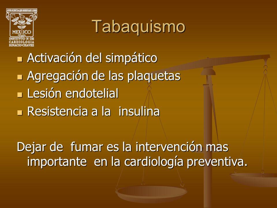 Tabaquismo Activación del simpático Agregación de las plaquetas
