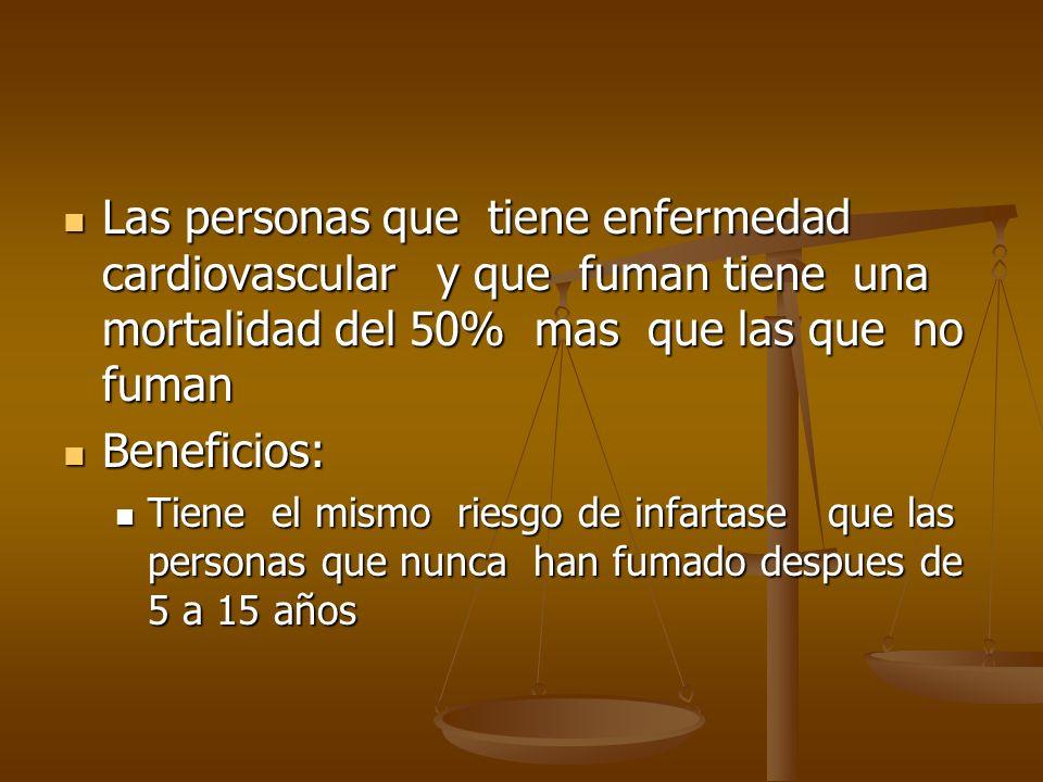 Las personas que tiene enfermedad cardiovascular y que fuman tiene una mortalidad del 50% mas que las que no fuman