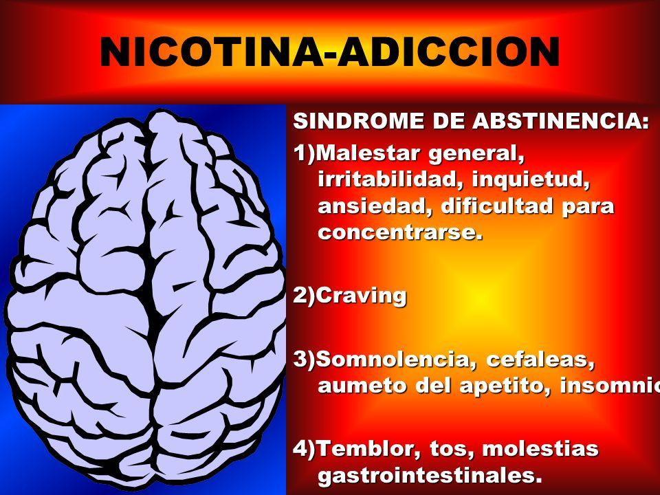 NICOTINA-ADICCION SINDROME DE ABSTINENCIA: