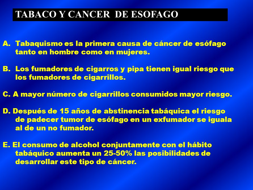 TABACO Y CANCER DE ESOFAGO