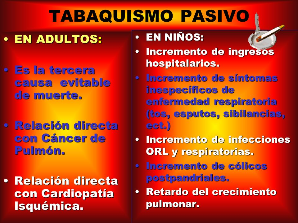 TABAQUISMO PASIVO EN ADULTOS: Es la tercera causa evitable de muerte.