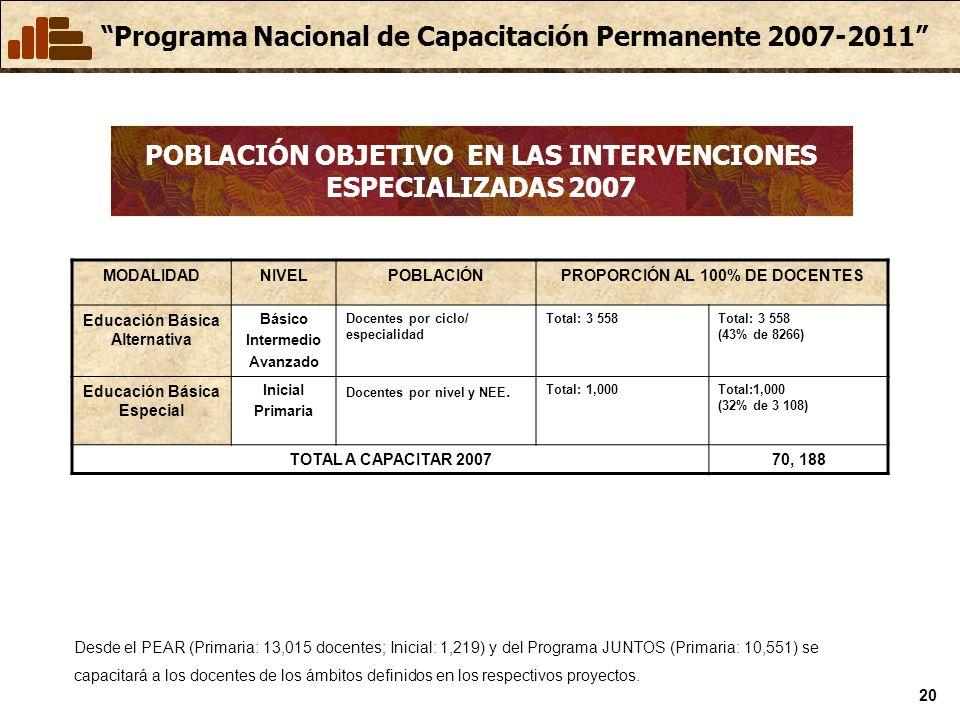 POBLACIÓN OBJETIVO EN LAS INTERVENCIONES ESPECIALIZADAS 2007