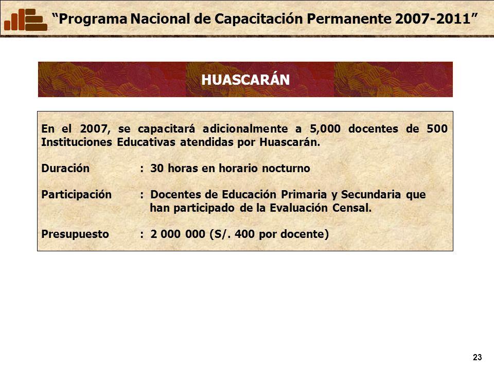 HUASCARÁN En el 2007, se capacitará adicionalmente a 5,000 docentes de 500 Instituciones Educativas atendidas por Huascarán.
