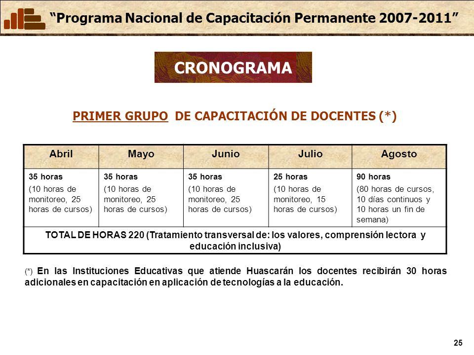 PRIMER GRUPO DE CAPACITACIÓN DE DOCENTES (*)