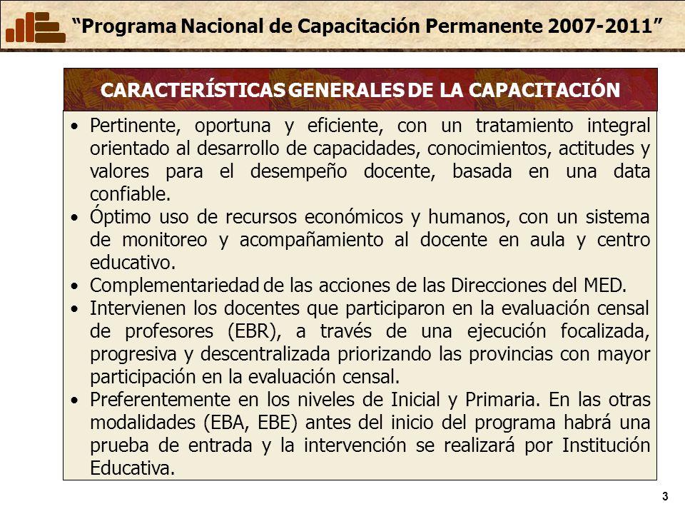 CARACTERÍSTICAS GENERALES DE LA CAPACITACIÓN