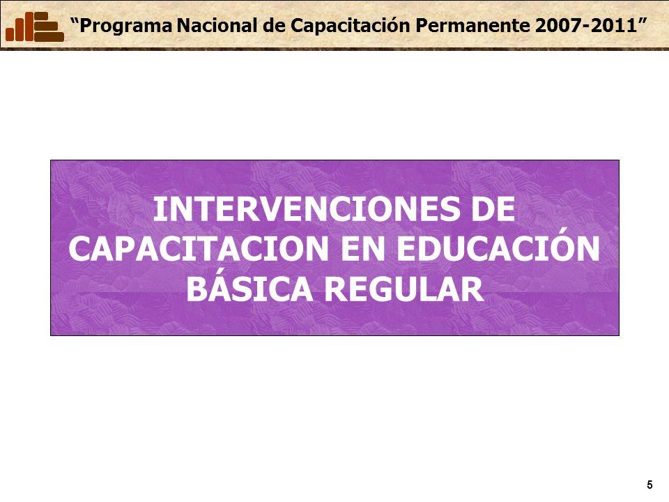 INTERVENCIONES DE CAPACITACION EN EDUCACIÓN BÁSICA REGULAR