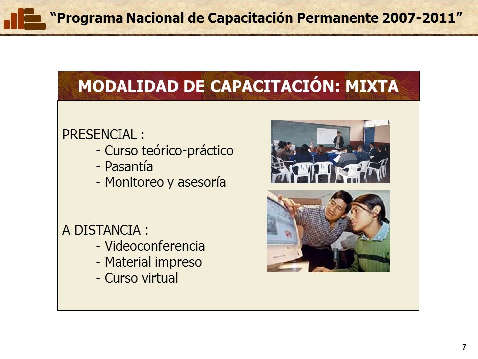 MODALIDAD DE CAPACITACIÓN: MIXTA