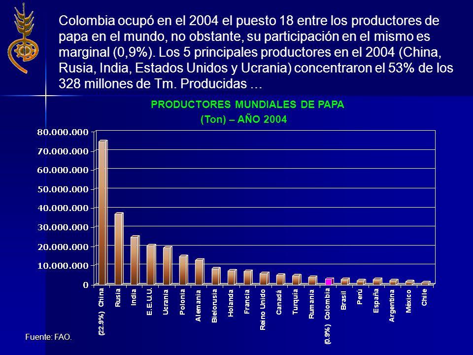 PRODUCTORES MUNDIALES DE PAPA