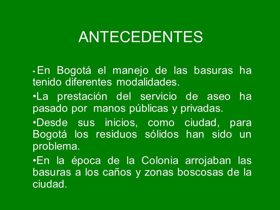 ANTECEDENTES En Bogotá el manejo de las basuras ha tenido diferentes modalidades.