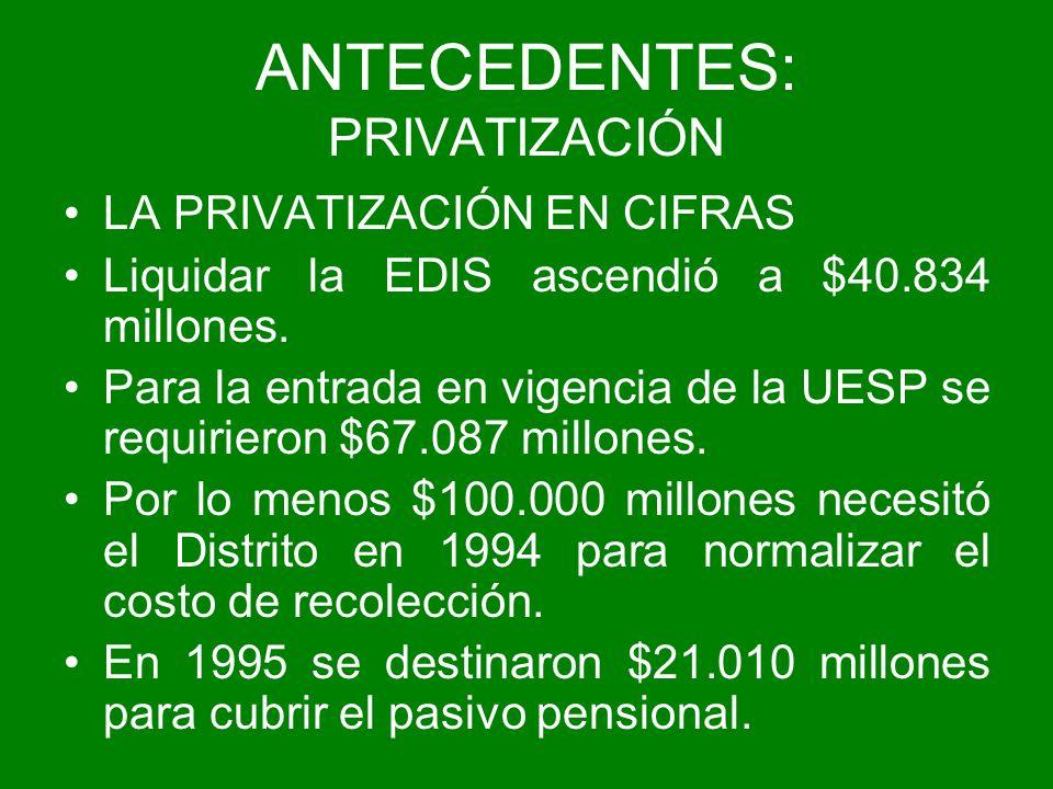 ANTECEDENTES: PRIVATIZACIÓN