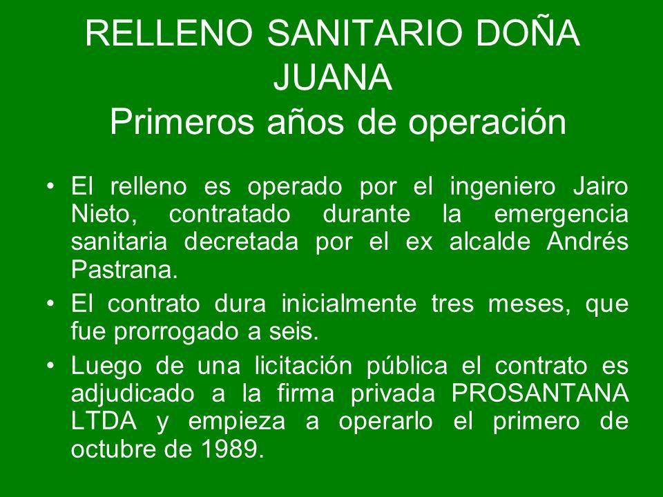 RELLENO SANITARIO DOÑA JUANA Primeros años de operación