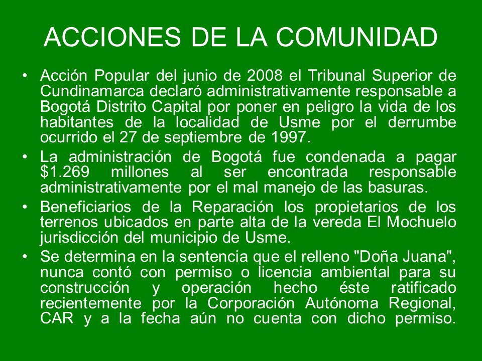 ACCIONES DE LA COMUNIDAD
