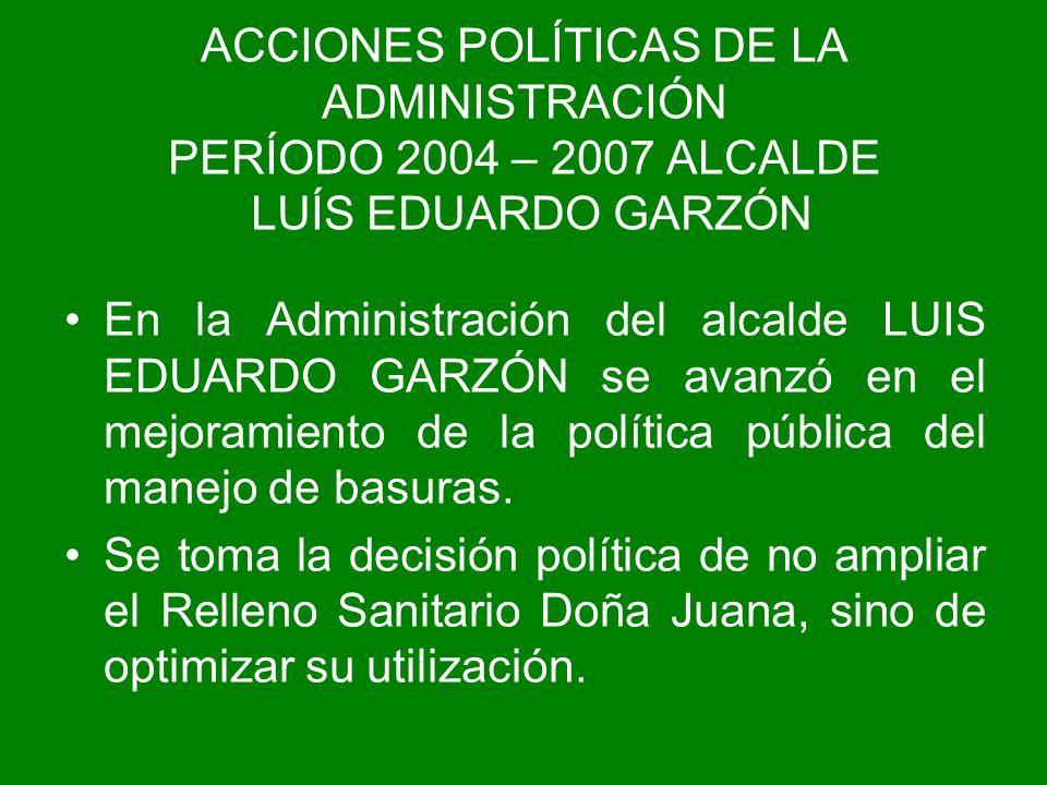 ACCIONES POLÍTICAS DE LA ADMINISTRACIÓN PERÍODO 2004 – 2007 ALCALDE LUÍS EDUARDO GARZÓN