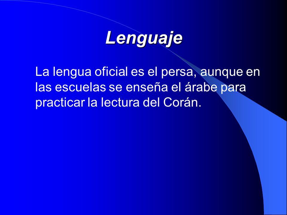 LenguajeLa lengua oficial es el persa, aunque en las escuelas se enseña el árabe para practicar la lectura del Corán.