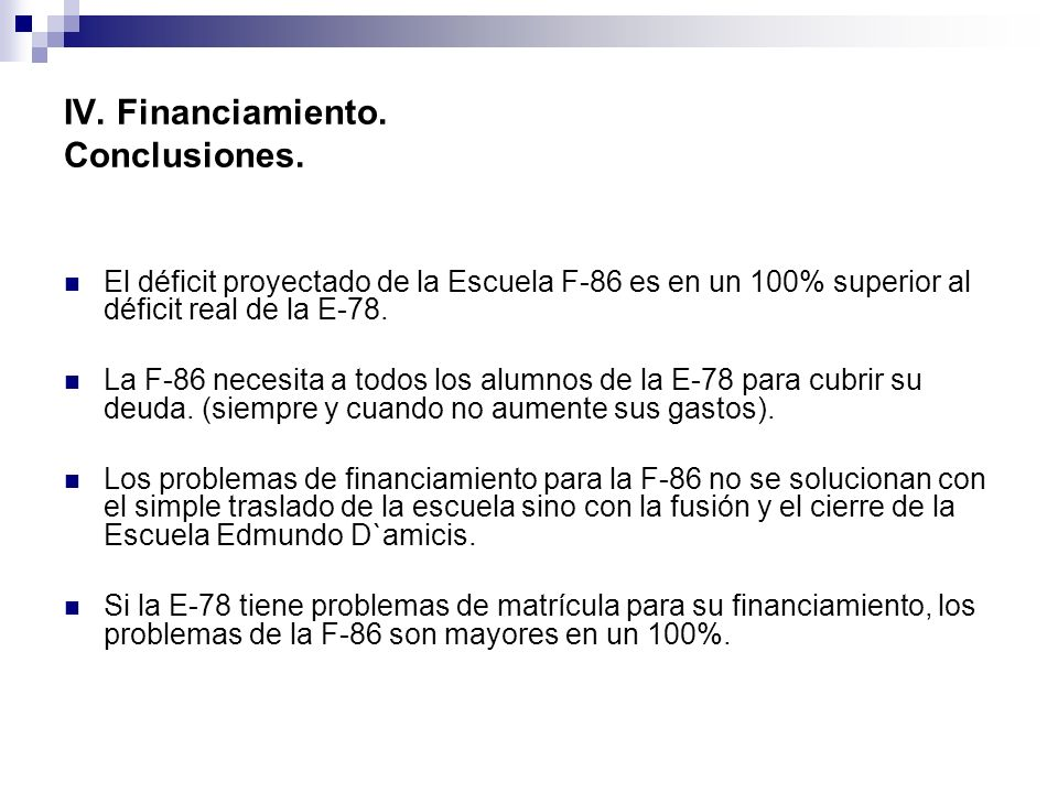 IV. Financiamiento. Conclusiones.