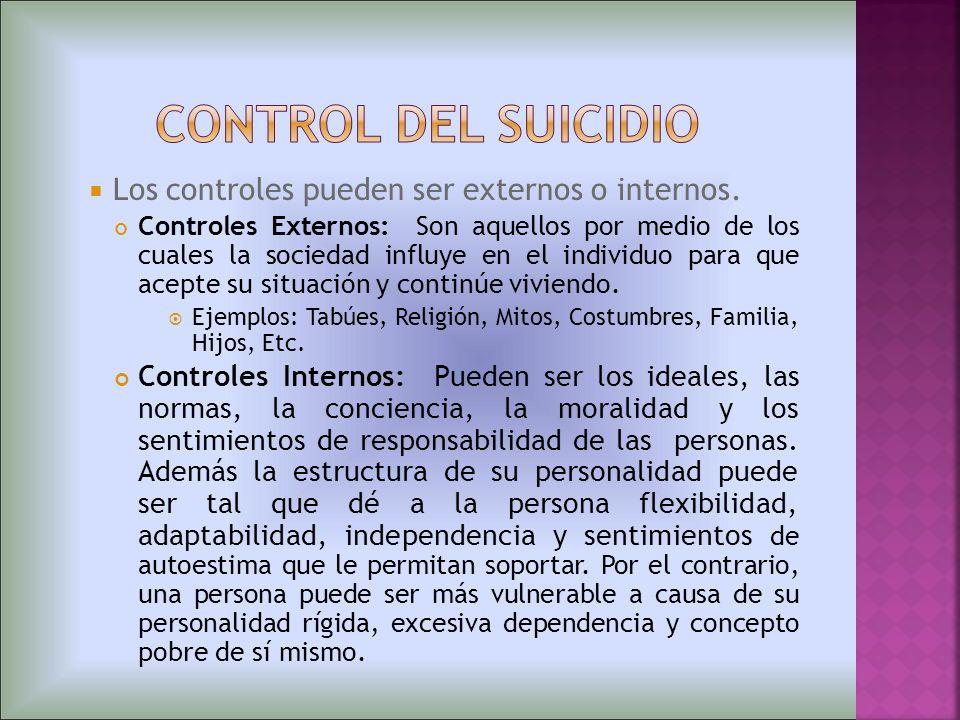 control del suicidio Los controles pueden ser externos o internos.
