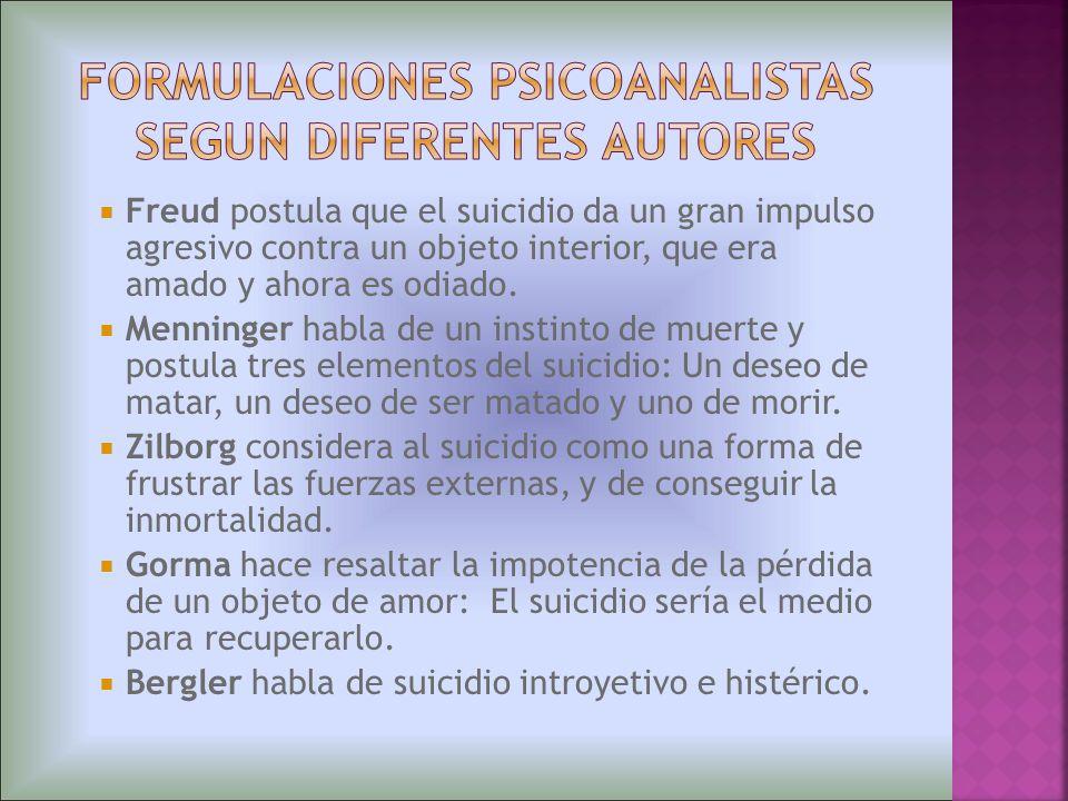 FORMULACIONES PSICOANALISTAS SEGUN DIFERENTES AUTORES