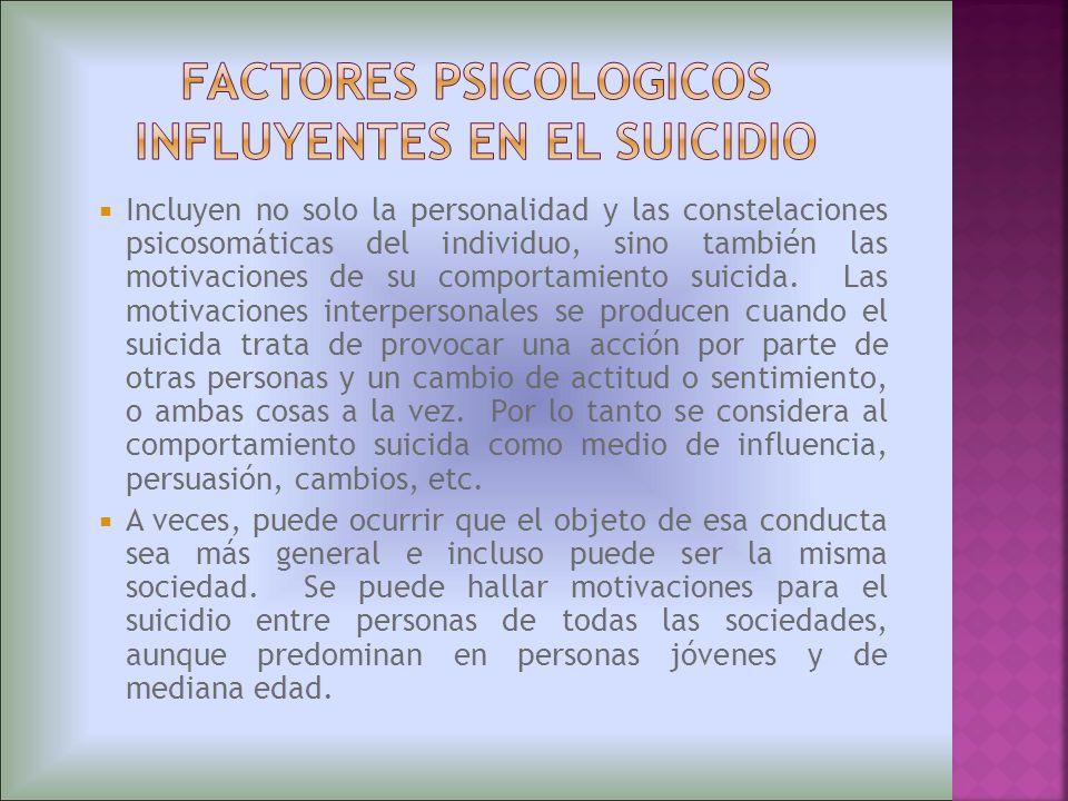 FACTORES PSICOLOGICOS INFLUYENTES EN EL SUICIDIO