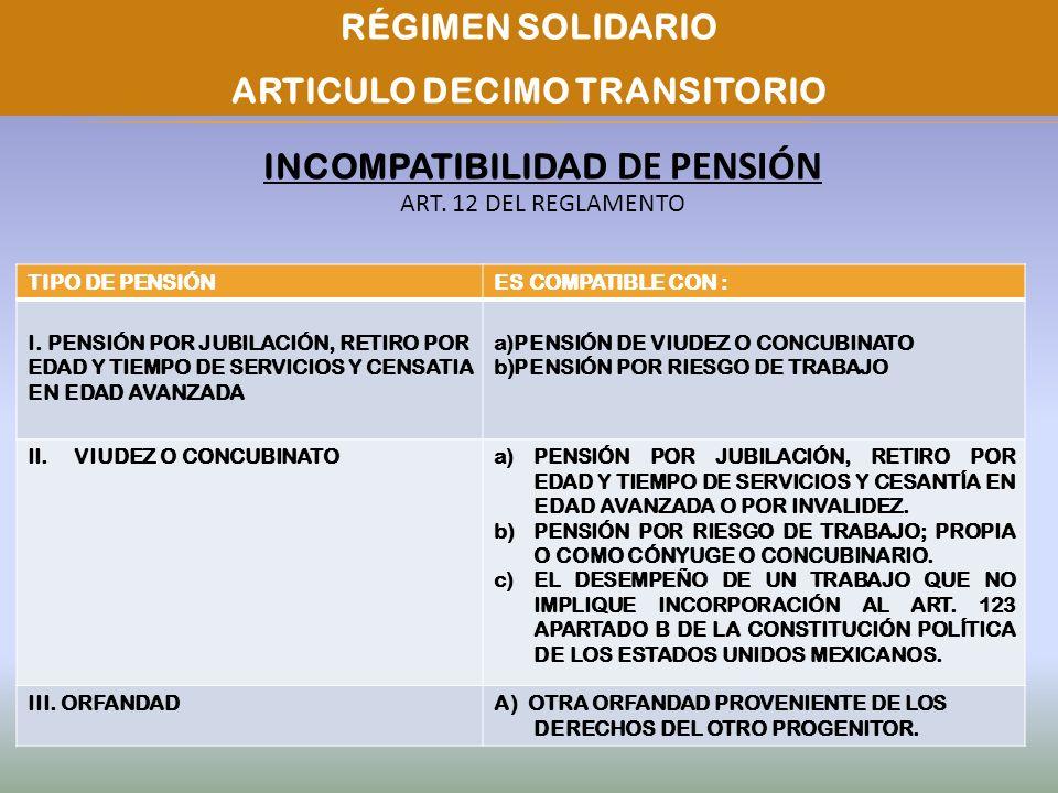 ARTICULO DECIMO TRANSITORIO INCOMPATIBILIDAD DE PENSIÓN