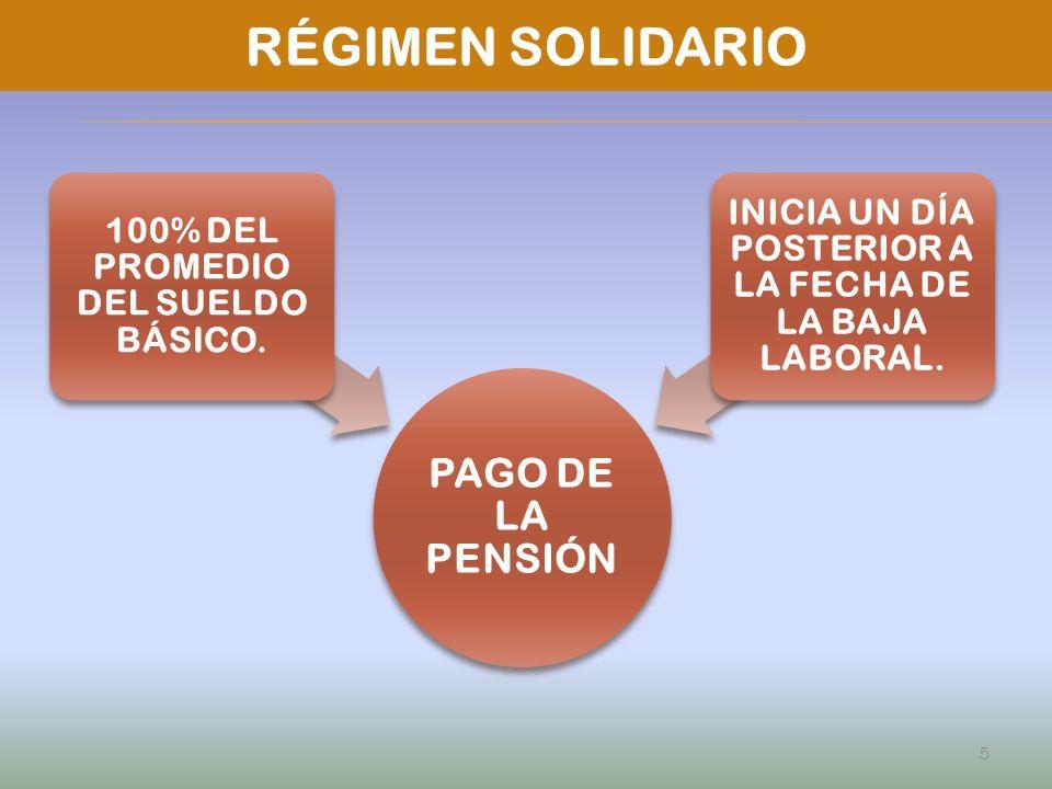 RÉGIMEN SOLIDARIO PAGO DE LA PENSIÓN